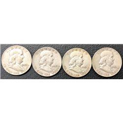 (4) Franklin Silver Half Dollars