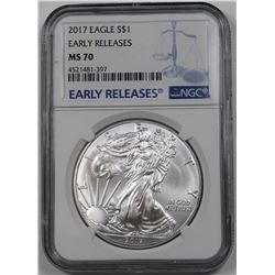 2017 AMERICAN SILVER EAGLE NGC MS 70