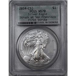 2014 (S) AMERICAN SILVER EAGLE PCGS MS 70
