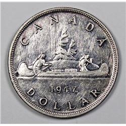 1947 CANADIAN SILVER DOLLAR AU