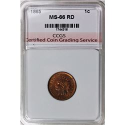 1865 INDIAN CENT CCGS GRADED SUPERB RED BU