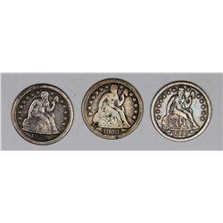 SEATED DIMES: 1852-O, 1853 AND 1853-O