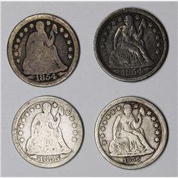 SEATED DIMES: 1854, 1854-O, 1855 AND 1856.