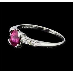 1.07 ctw Ruby and Diamond Ring - Platinum