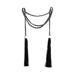 Double Silk Tassel Braided Necklace - Rhodium Plated
