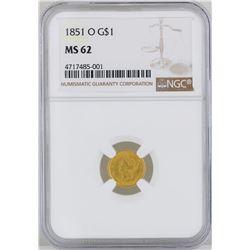 1851-O $1 Gold Coin NGC MS62