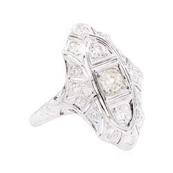 0.95 ctw Diamond Vintage Ring - 18KT White Gold