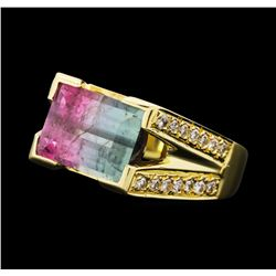 4.10 ctw Tourmaline And Diamond Ring - 18KT Yellow Gold