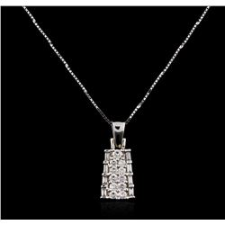 14KT White Gold 0.50 ctw Diamond Pendant With Chain