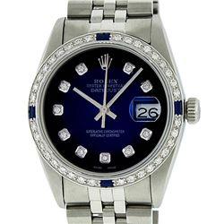 Rolex Mens Stainless Steel Blue Vignette Diamond & Sapphire Datejust Wristwatch