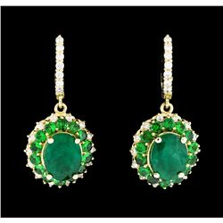 10.10 ctw Emerald and Diamond Earrings - 14KT Yellow Gold