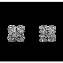 1.68 ctw Diamond Earrings - 14KT White Gold