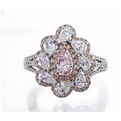 0.74 ctw Fancy Pink Diamond Ring - 18KT Two-Tone Gold