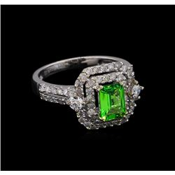 0.99 ctw Tsavorite and Diamond Ring - 14KT White Gold
