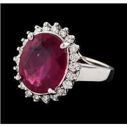 6.53 ctw Ruby and Diamond Ring - 14KT White Gold