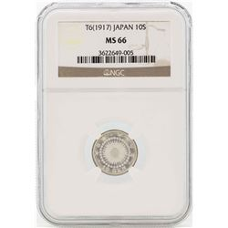 T6(1917) Japan 10 Sen Silver Coin NGC MS66