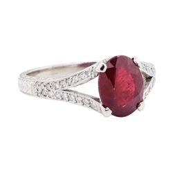 3.02 ctw Ruby And Diamond Ring - Platinum