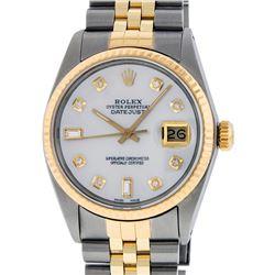 Rolex Mens 2 Tone 14K MOP Diamond 36MM Datejust Wristwatch