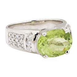 4.80 ctw Green Tourmaline And Diamond Ring - 14KT White Gold