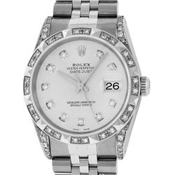Rolex Mens Stainless Steel Silver Diamond Lugs & Pyramid Bezel Datejust Wristwat