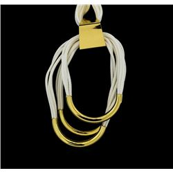 Multi Strand Leather Necklace - Gold Plated