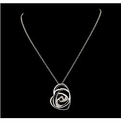 0.50 ctw Diamond Pendant With Chain - 14KT White Gold