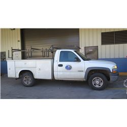 2002 Chevy 2500 Silverado Truck, Utility Body 143,326 Miles, Lic. 027TTR (Runs, Drives - See Video)