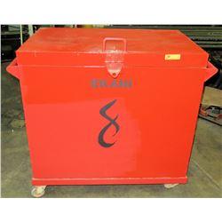 Rolling/Locking Metal Job Box, Red