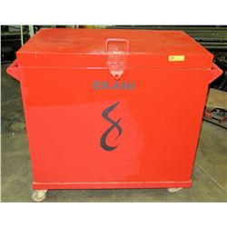 "Rolling/Locking Metal Job Box, Red, 42"" L x 27.5"" D x 42"" H"