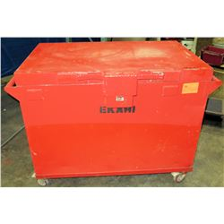 Large Rolling/Locking Metal Job Box, Includes Contents