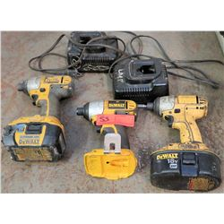 DeWalt Impact Drivers (3 pcs) with Batteries and Chargers (2 ea)