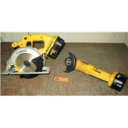 DeWalt 6-1/2-Inch 18-Volt Cordless Circular Saw Model DC390B and DeWalt 18v Cordless Cut-off Tool An