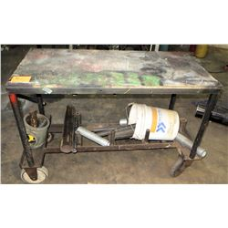 "Rolling Metal Work Table (51"" x 25"" x 36.5"" H) w/ Various Pipes"