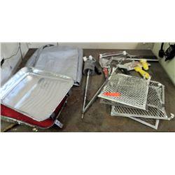 Various Painting Supplies; Tarps, Rollers, Mixers, etc