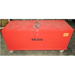 "Rolling/Locking Metal Job Box, Red, 55.5"" L x 22.5"" D x 27.5"" H"