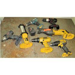 Various Drills/Saws: DeWalt, Mikita, Craftsman, Ryobi (most missing batteries, untested)