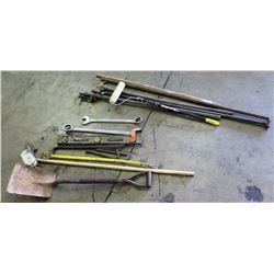 Assorted Tools: Level, Crowbars, Shovel & Hand Tools