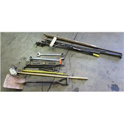Assorted Tools: Level, Crowbars, Shovel & Hand Tools