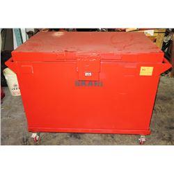 Large Rolling/Locking Metal Job Box, Red