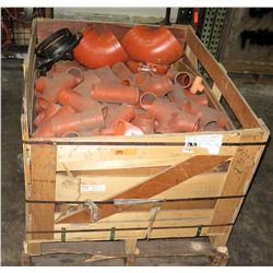 Crate of Sprink Large Orange Fittings, Elbows, T's