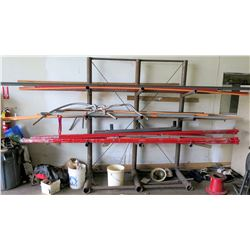 Pipe Rack w/Contents: All-Thread, Metal & PVC Pipes, Flex Hoses (red pipes 12')