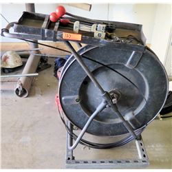 Large Metal Reel w/Strapping Material, Clamps, Cutters, Extra Straps