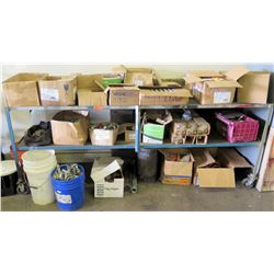 "Metal Shelf and Contents: Sprinklers, Clamps, Elbows, Fittings (shelving 8' x 2' x 38"" H)"
