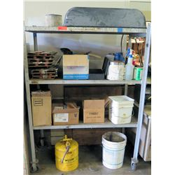 "Shelf and Contents: Sprinklers, Coatings, Fittings, & Gas Can, 49"" x 25""D x 66""H"