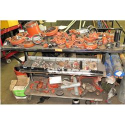 Rolling Metal Shelf w/ Contents: Clamps, Couplings, & Misc Fittings