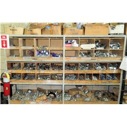 Divided Shelf w/Contents: Nuts, Bolts, Screws, Clamps & Misc Fittings
