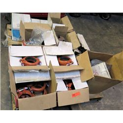 Qty 10 Boxes Gruvlok Large Orange Clamps, Anvil Pipe Hangers & Elbows