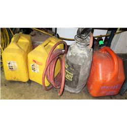 Qty 3 Gas Cans, Sprayer & Hose
