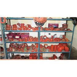 Shelf and Contents:  Assorted Size Elbows, T's, Straight Pipes & Clamps