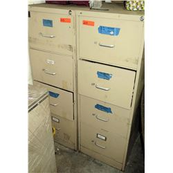 Qty 2 Beige Metal 4-Drawer File Cabinets